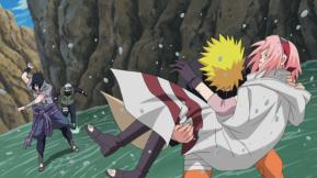 From Right to Left: Sakura Haruno, Uzumaki Naruto, Sasuke Uchiha, Kakashi Hatake